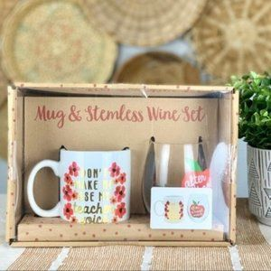 Teacher Mug and Stemless Wineglass Set